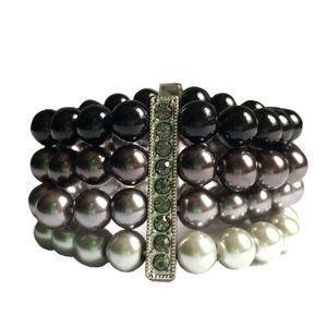 Multi-Strand Beaded Faux Pearl Bracelet